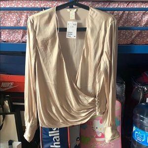 Champagne v neck blouse